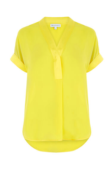 Warehouse, SATIN MIX BLOUSE Yellow 0