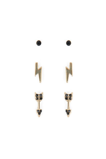 Warehouse, ARROW EARRING 3PK Gold Colour 0
