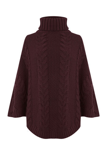 Warehouse, CABLE KNIT PONCHO Berry 0