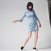 Warehouse, CLEAN FIT AND FLARE DRESS Light Wash Denim 2