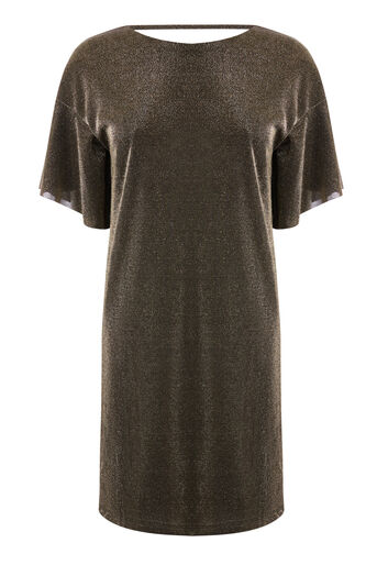 Warehouse, METALLIC TUNIC DRESS Gold Colour 0