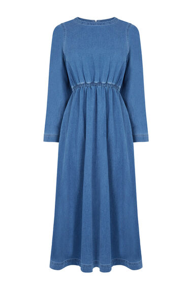 Warehouse, Long Sleeve Midi Dress Light Wash Denim 0