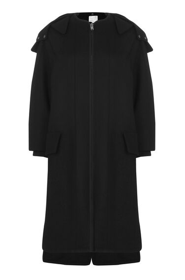 Warehouse, Oversized Hooded Coat Black 0