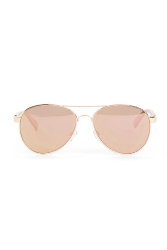 Warehouse, Rose Gold Aviator Sunglasses Copper Colour 0