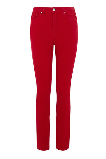 Warehouse, HIGH RISE CORD SKINNY CUT Bright Red 0
