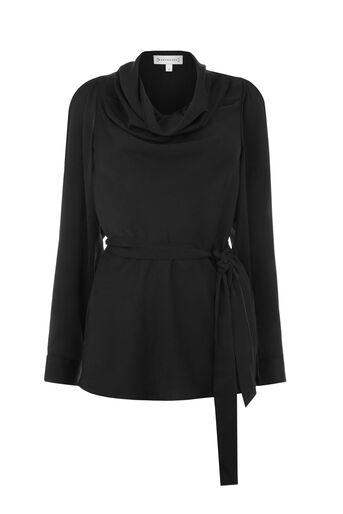 Warehouse, SATIN COWL NECK TOP Black 0
