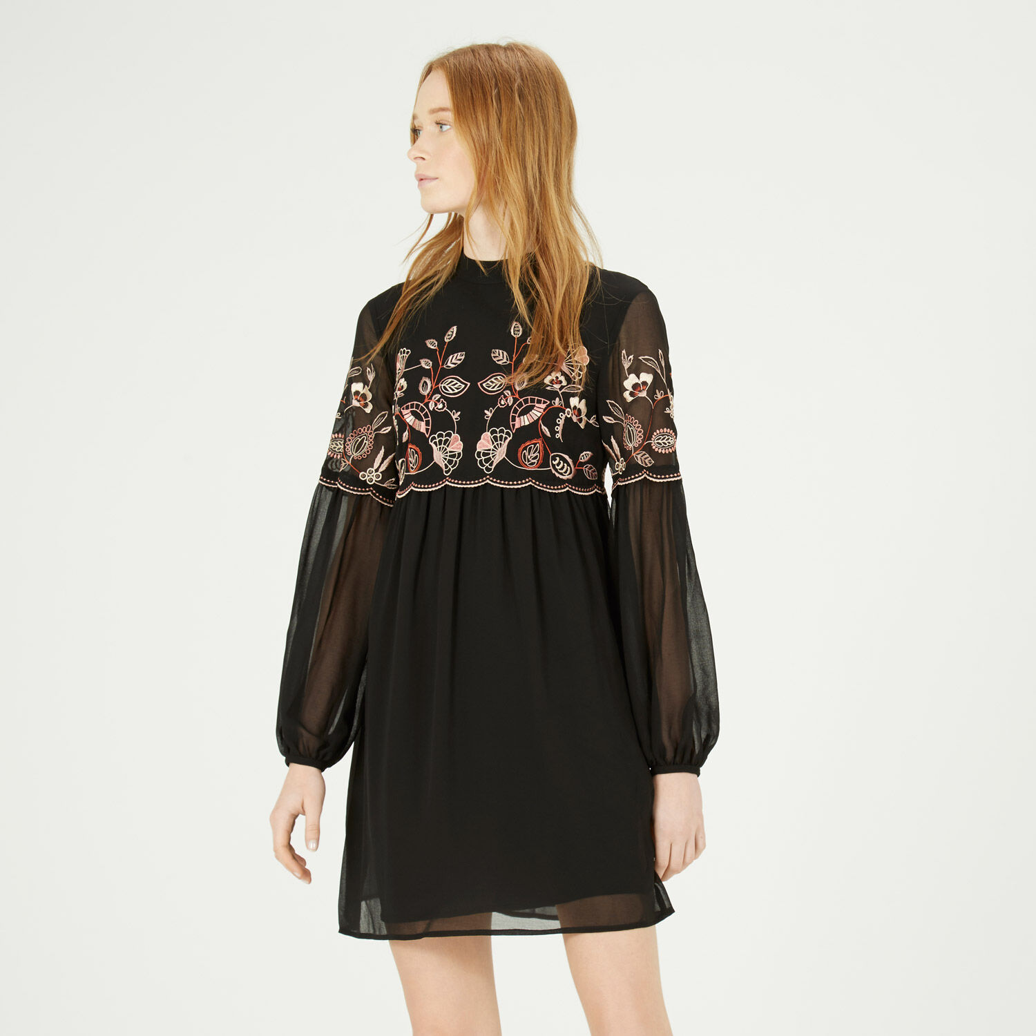 Warehouse, EMBROIDERED GYPSY SMOCK DRESS Black 1
