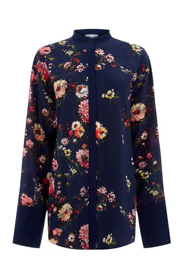 Warehouse, PAINTED FLORAL SILK SHIRT Blue Pattern 0