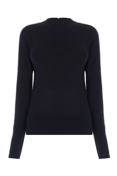 Warehouse, EMBELLISHED SLEEVE JUMPER Navy 0