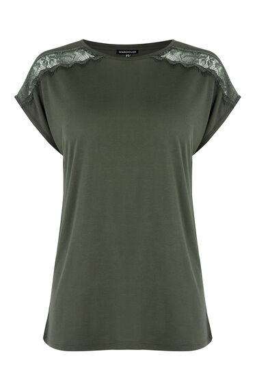 Warehouse, LACE AND WOVEN MIX TEE Khaki 0