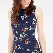 Warehouse, SPACED FLORAL SHIFT DRESS Navy 4