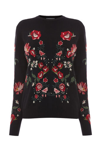 Warehouse, PREMIUM EMBROIDERED JUMPER Black 0