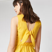 Warehouse, TIE DETAIL COTTON DRESS Yellow 4