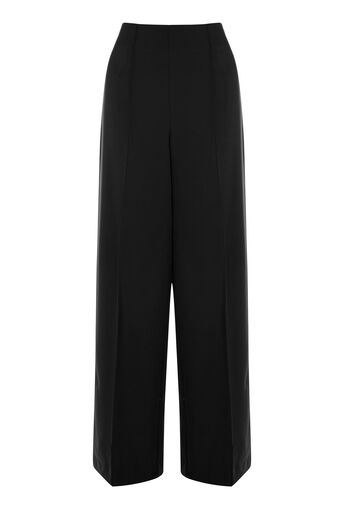 Warehouse, PINTUCK WIDE LEG TROUSER Black 0