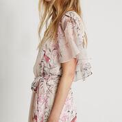 Warehouse, Silk Placement Bird Maxi Dress Multi 4