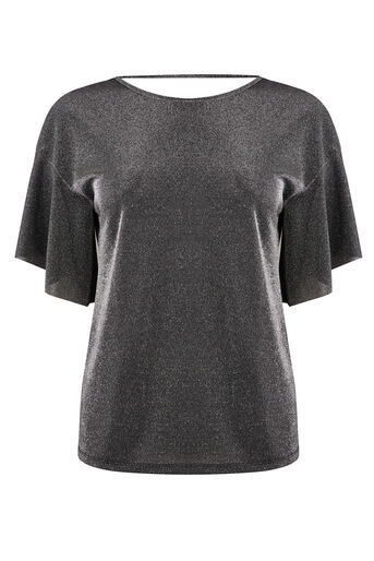 Warehouse, METALLIC FRILL SLEEVE TOP Silver Colour 0