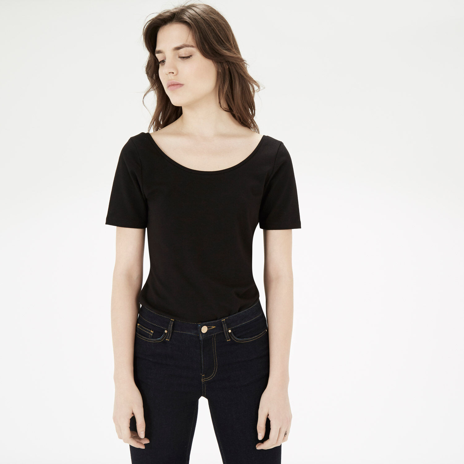 Warehouse, SCOOP TEE Black 1