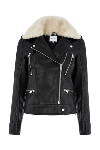 Warehouse, Fur Collar Faux Leather Biker Black 0