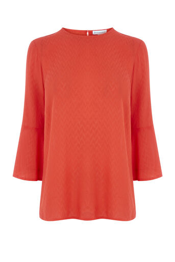 Warehouse, FLUTED SLEEVE TEXTURED TOP Bright Red 0