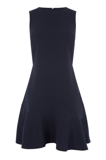 Warehouse, PEPLUM FLIPPY HEM DRESS Navy 0