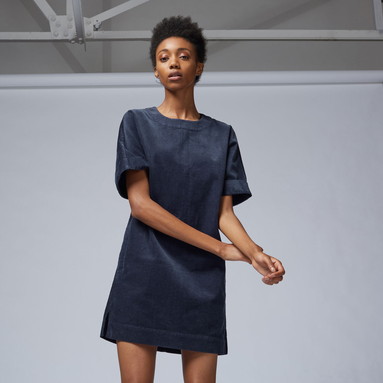 Warehouse, Cord Relaxed Shift Dress Navy 1