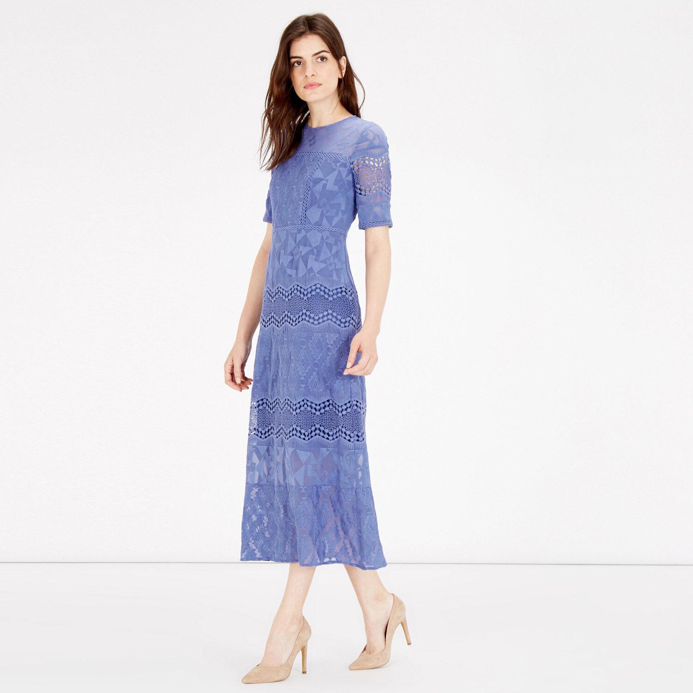 Warehouse, EMBROIDERED MIDI DRESS Bright Blue 1