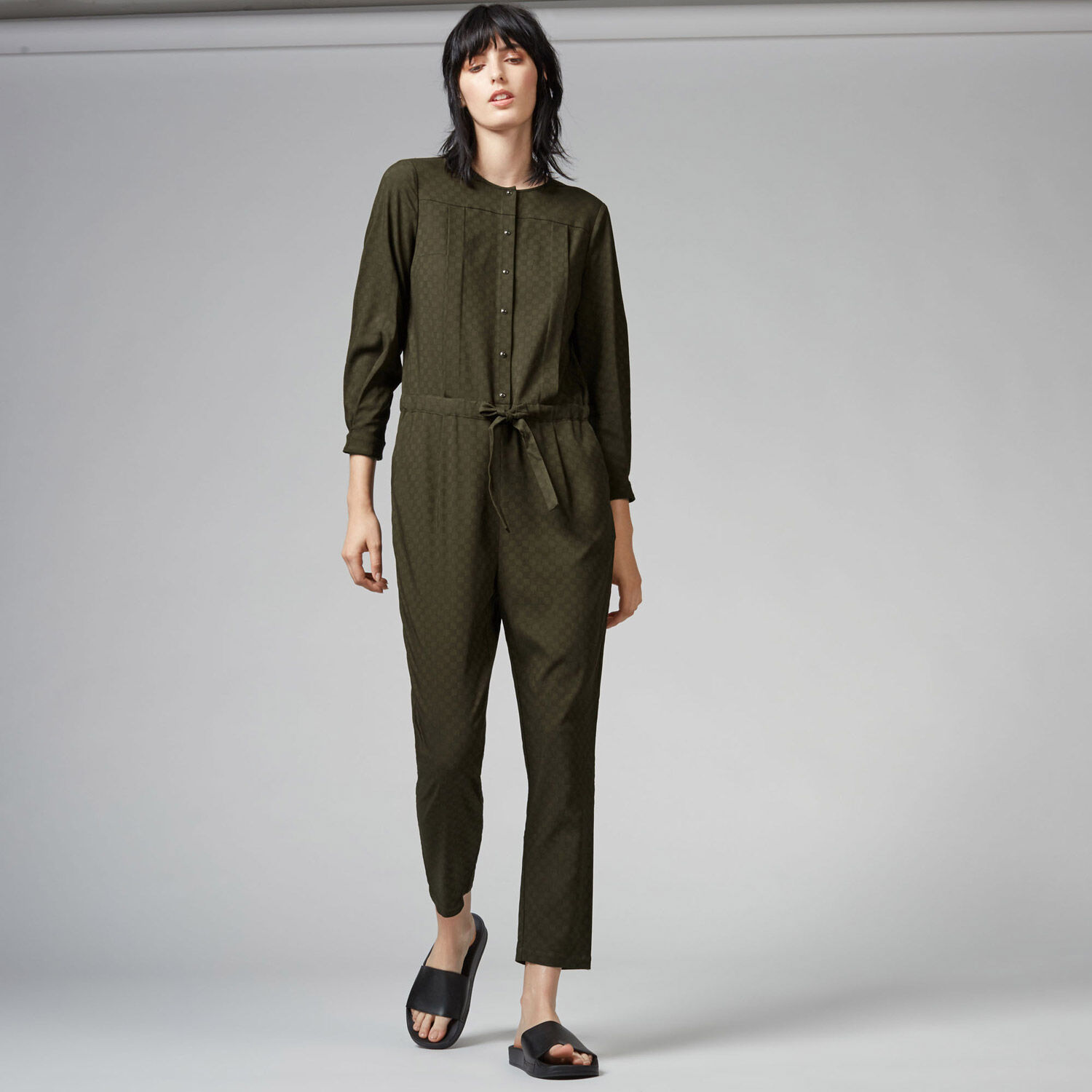 Warehouse, Jacquard Pleat Front Jumpsuit Khaki 1