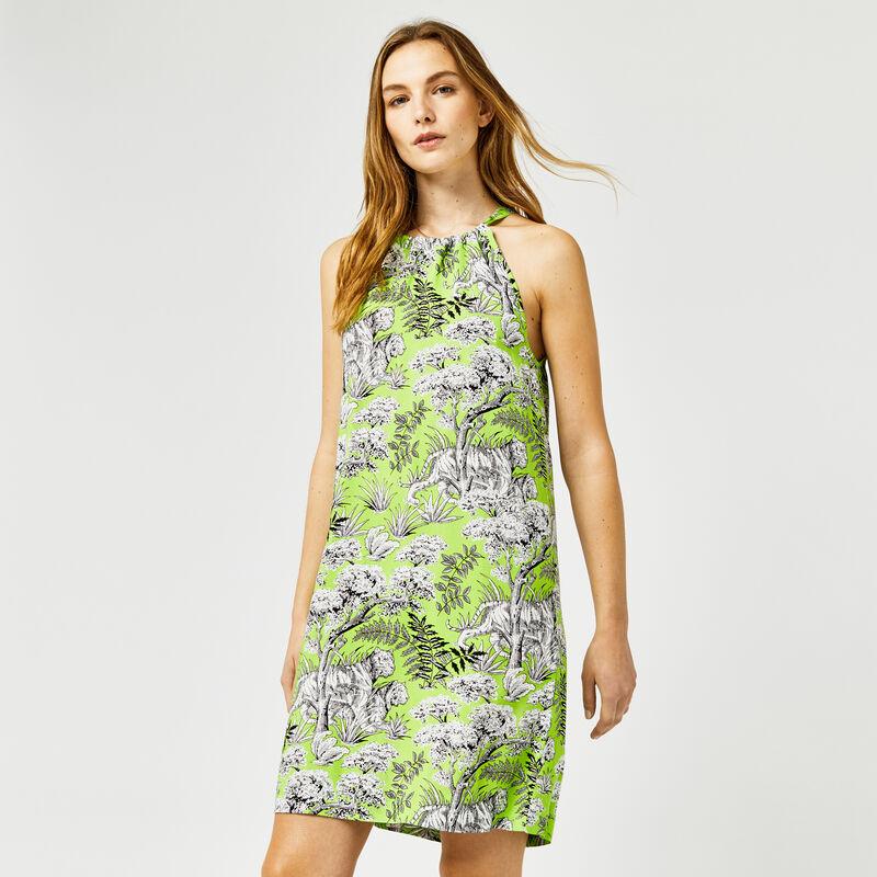 Warehouse, TIGER PRINT HALTER DRESS Green Print 1
