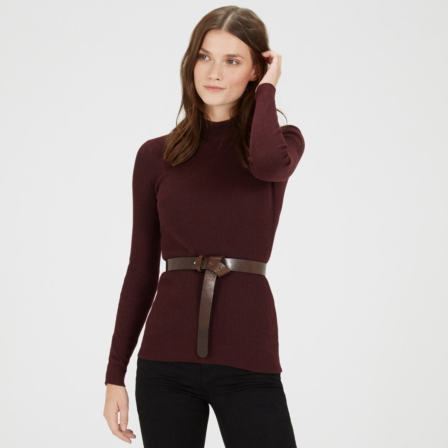 Warehouse, KNOTTED LEATHER WAIST BELT Brown 1