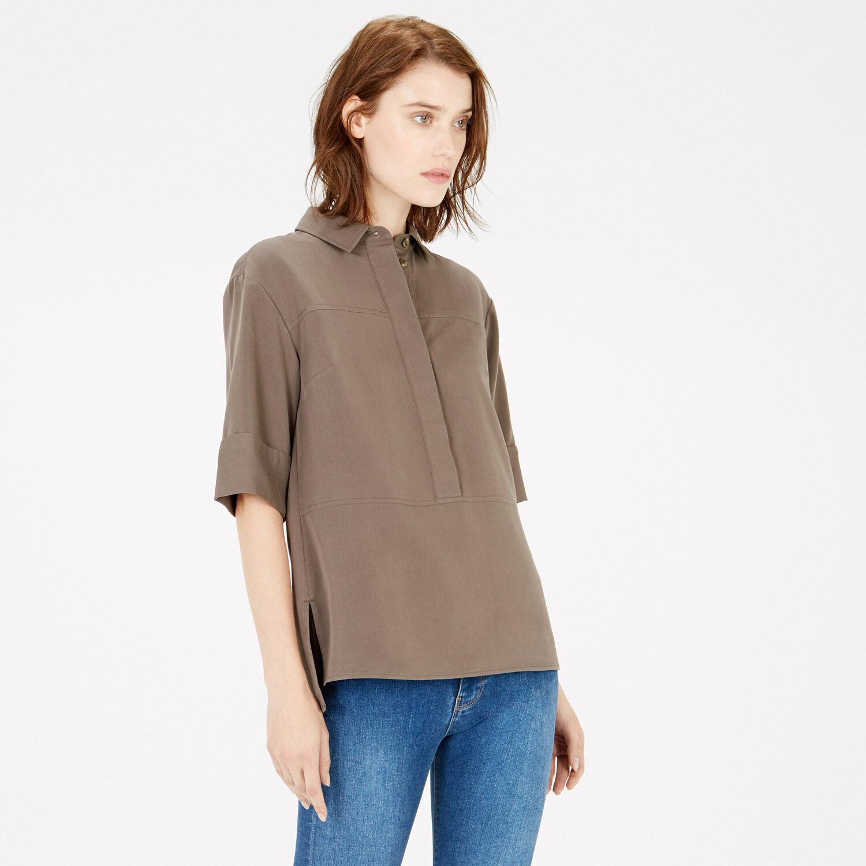 Warehouse, Seam Detail Shirt Khaki 1