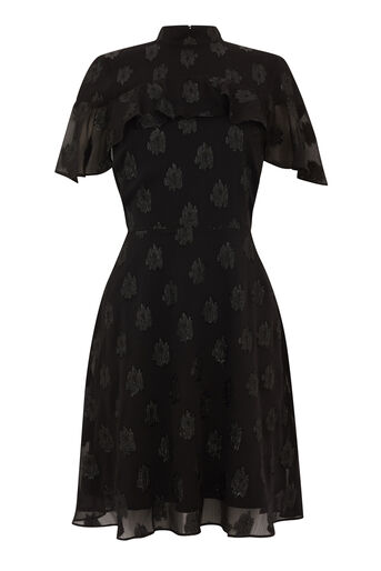 Warehouse, SOFT LUREX JACQUARD DRESS Black 0