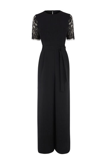 Warehouse, LACE SLEEVE JUMPSUIT Black 0