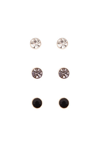 Warehouse, Diamante Stud Earring Pack Gold Colour 0