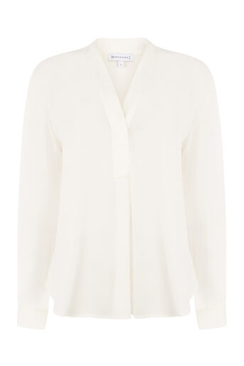 Warehouse, LONG SLEEVE SATIN MIX BLOUSE Cream 0