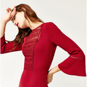 Warehouse, LACE FRONT FLUTED SLEEVE DRESS Dark Red 4