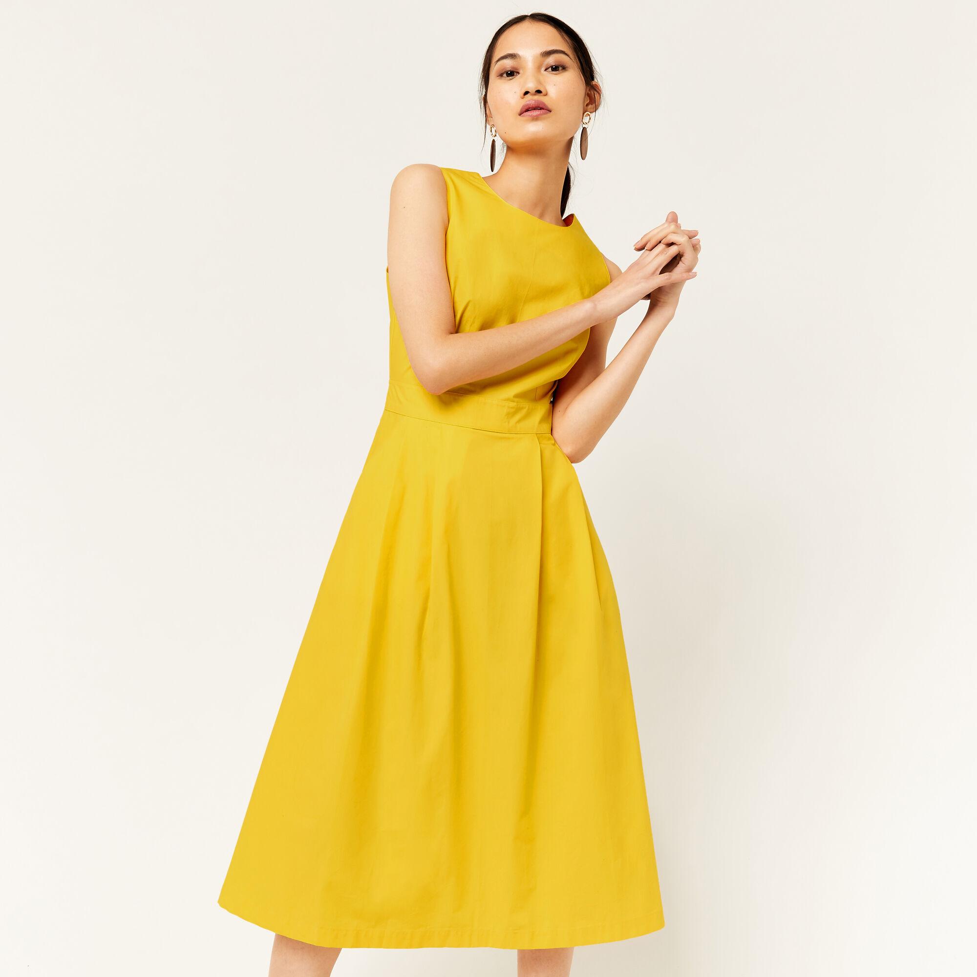 Warehouse, COTTON TIE BACK MIDI DRESS Yellow 1