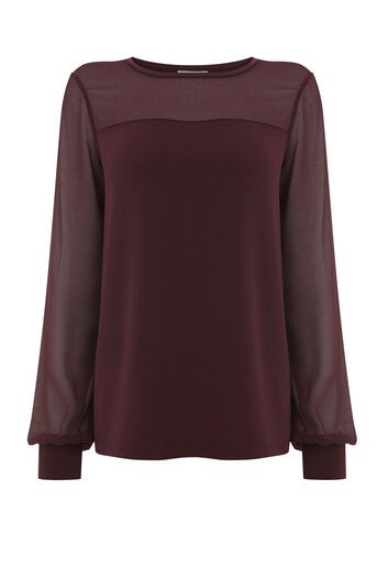 Warehouse, SHEER SLEEVE WOVEN MIX TOP Berry 0