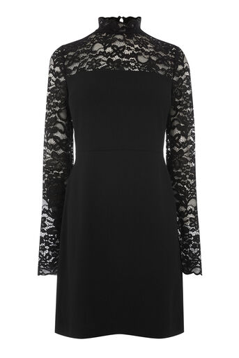 Warehouse, LACE TOP DRESS Black 0