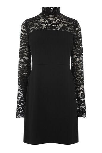 Warehouse, LACE TOP DRESS Black 0