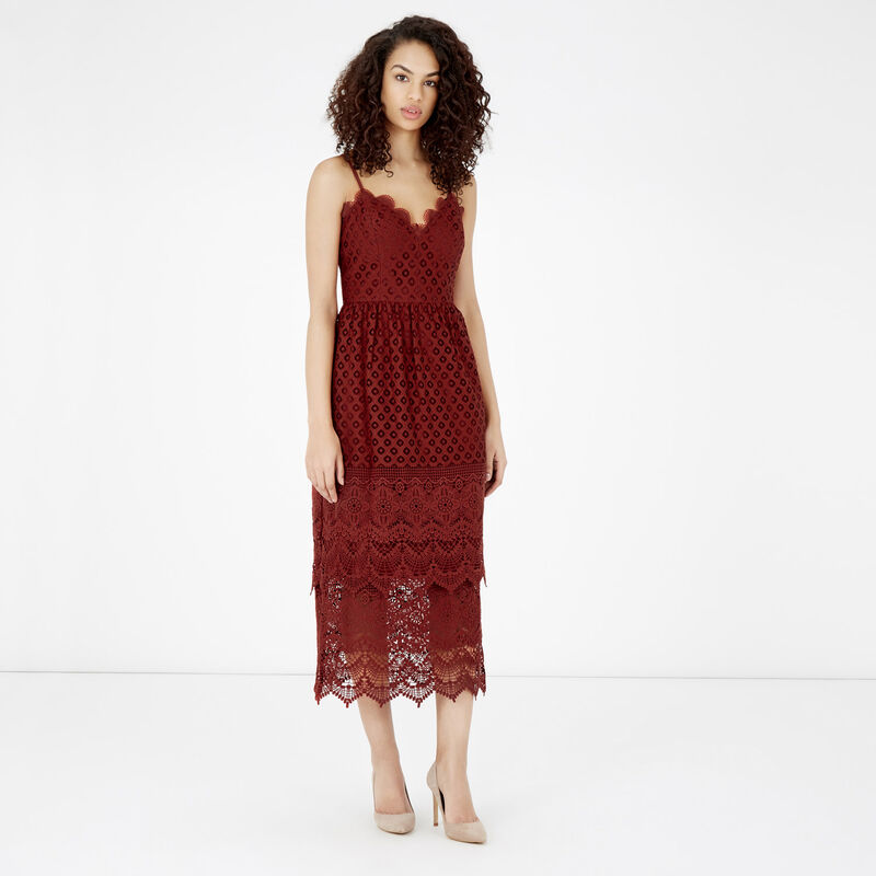 Warehouse, LACE TIERED DRESS Copper Colour 1