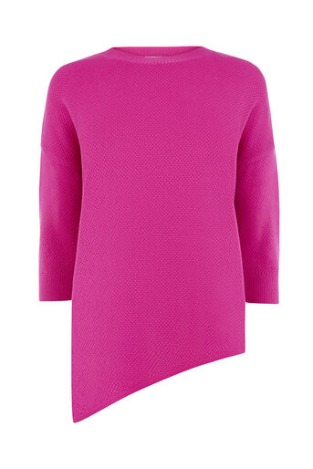 Warehouse, STITCHY DISPLACED HEM JUMPER Bright Pink 0
