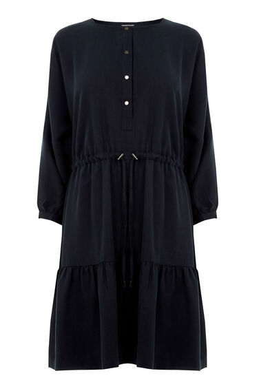 Warehouse, Tiered Smock Dress Navy 0