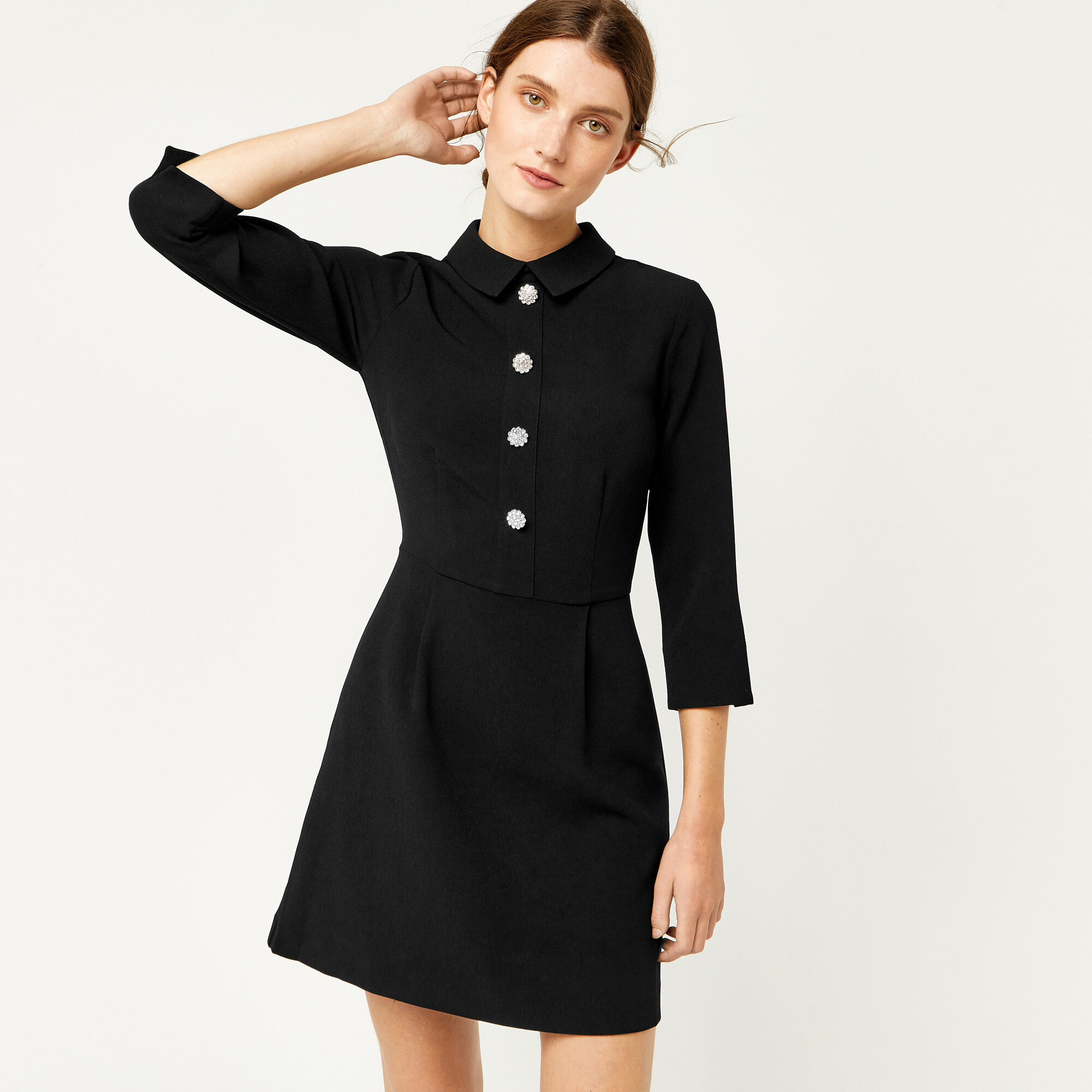Warehouse, DIAMANTE BUTTON DRESS Black 1