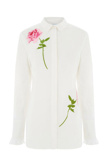 Warehouse, ROSE EMBROIDERED SHIRT White 0