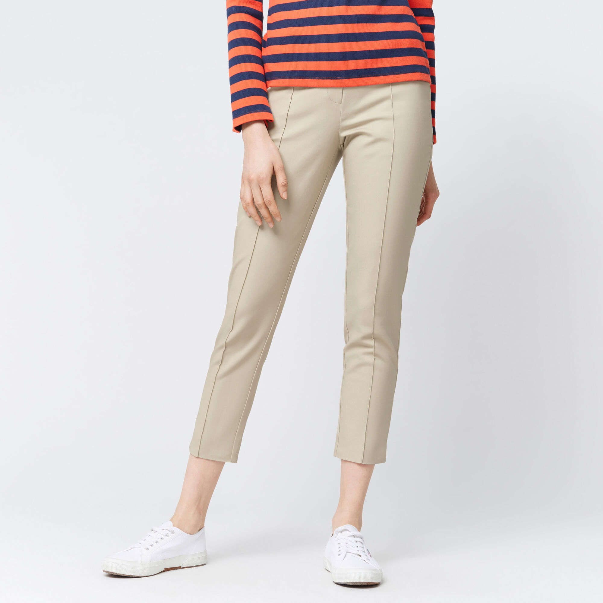 Warehouse, COMPACT COTTON TROUSERS Stone 1