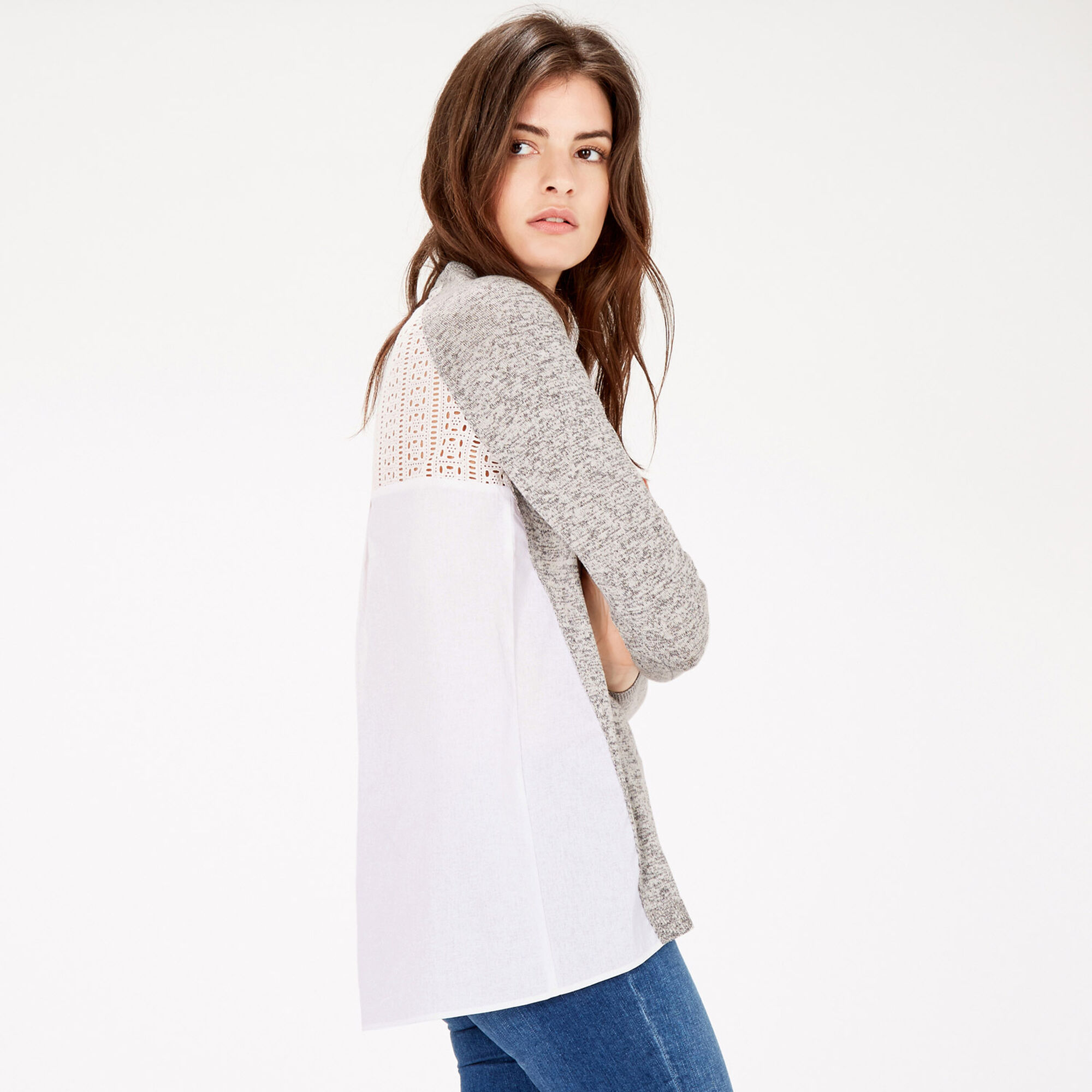 MIXED FABRIC LACE JUMPER