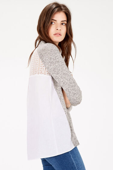 Warehouse, MIXED FABRIC LACE JUMPER Light Grey 1