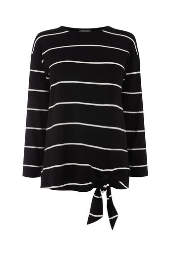 Warehouse, TIE SIDE STRIPE TOP Black Stripe 0