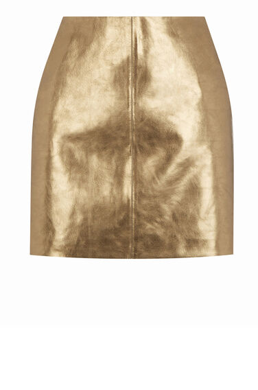 Warehouse, Metallic Leather Skirt Copper Colour 0