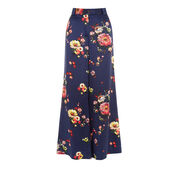 Warehouse, PAINTED FLORAL SILK TROUSER Blue Pattern 0